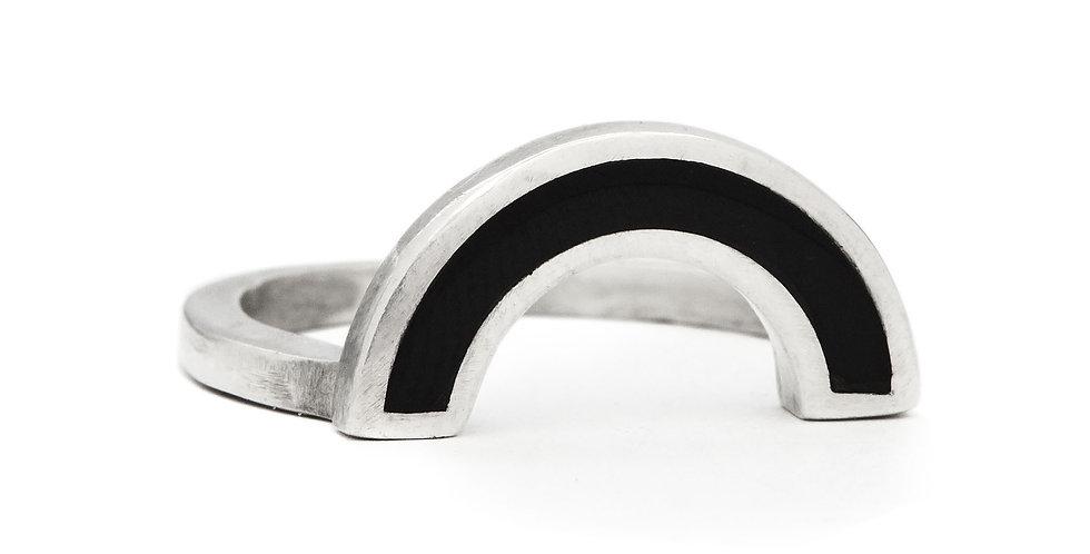 Silver Onyx Rainbow Ring