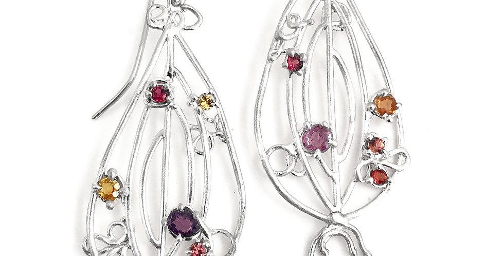 Multi-Colored Sapphire Pod Earrings