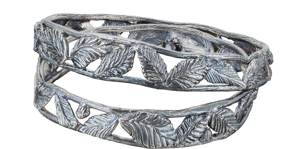 Silver Leaf Bangle Bracelet