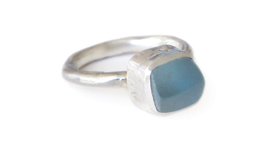 Rough Blue Topaz Amulet Ring