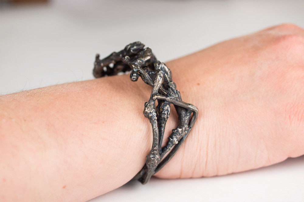 Oxidized Sterling Silver cuff bracelet of poison ivy branch