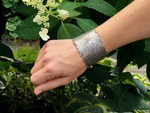 silver lace cuff bracelet