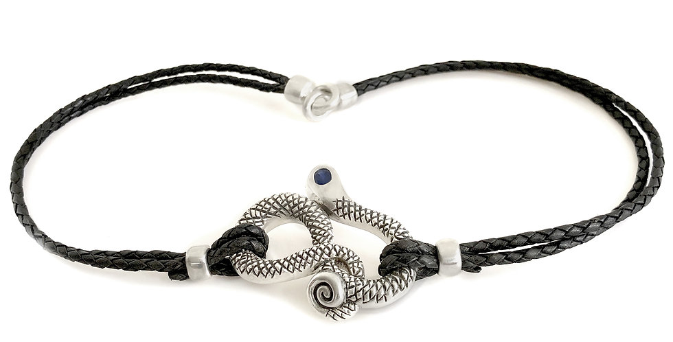 Silver Textured Snake Rope Necklace
