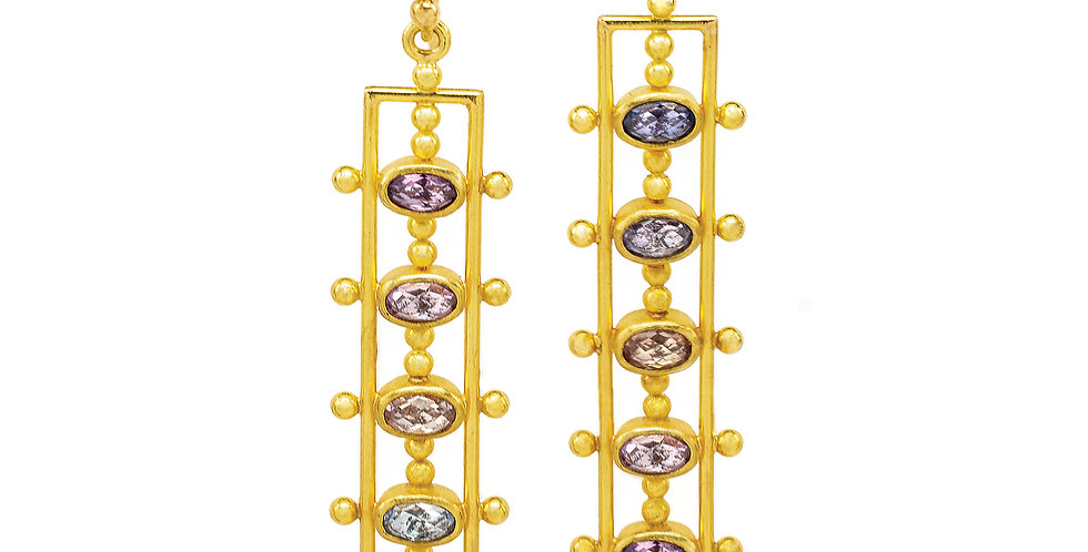 Purple and Pink Sapphire 22k Gold Earrings
