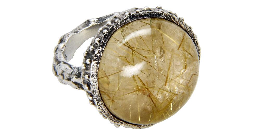 Sandrine B. Jewelry Sterling Silver Rutilated Quartz Acorn Ring