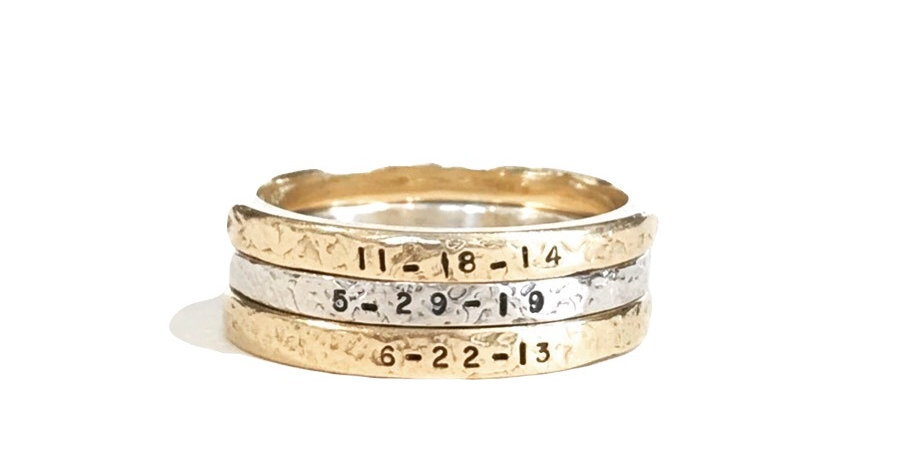Mixed Metal Personalized Ring Stack Set