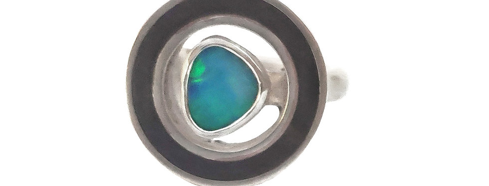 Opal and Inlay Antique Ebony Unisex Ring