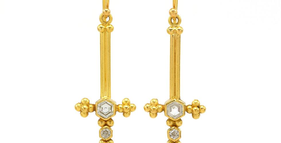 Hex Diamond Morning Star Earrings