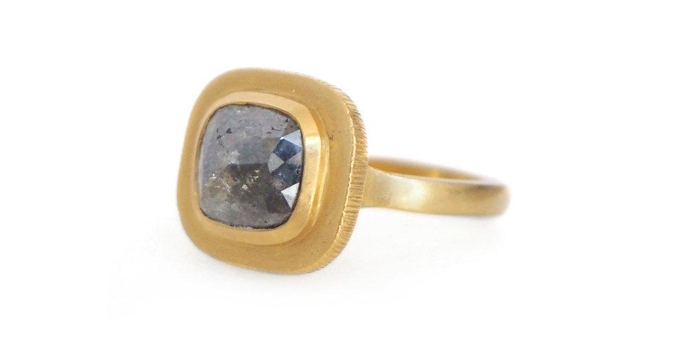 Rose Cut Grey Diamond 22k Ring