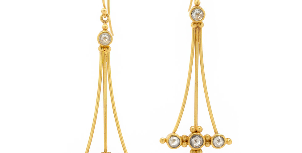 Rose Cut Diamond Shoulder Duster Earrings