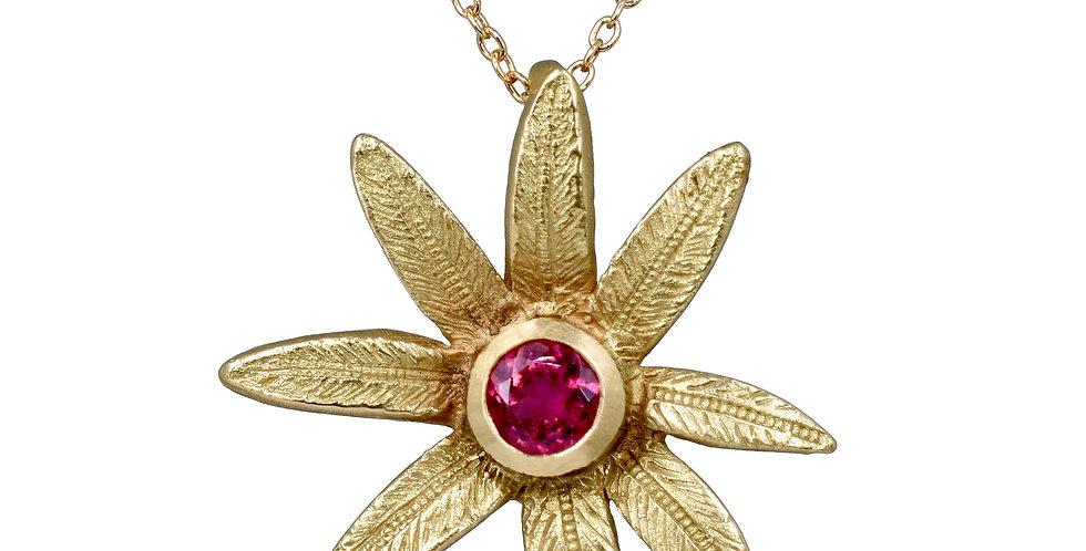 Rubellite Tourmaline Flower Pendant