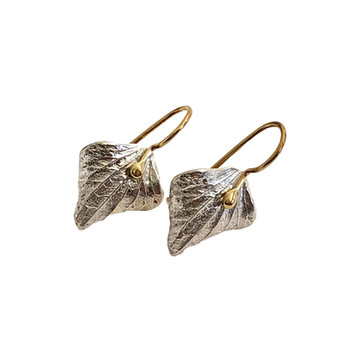Silver and Gold Leaf Earrings by Ruth Edelson