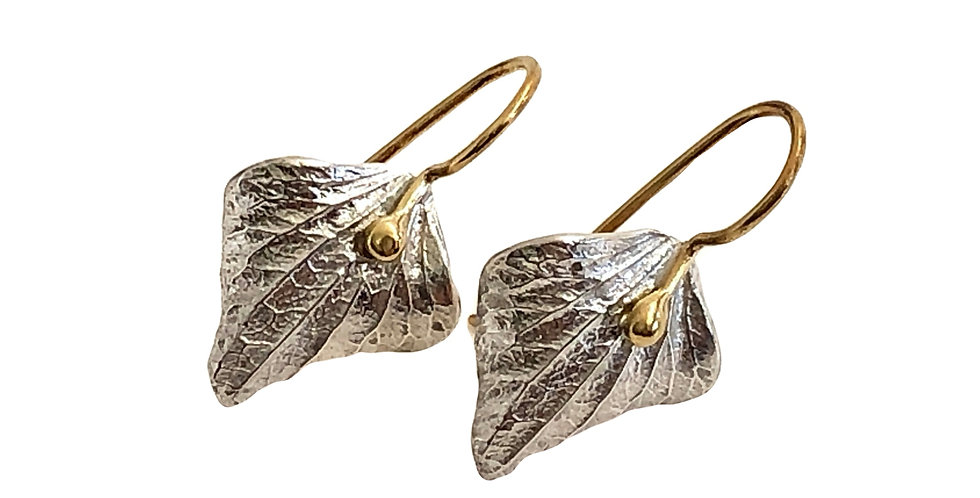 Ruth Edelson- Curved Petal Silver and Gold Earrings