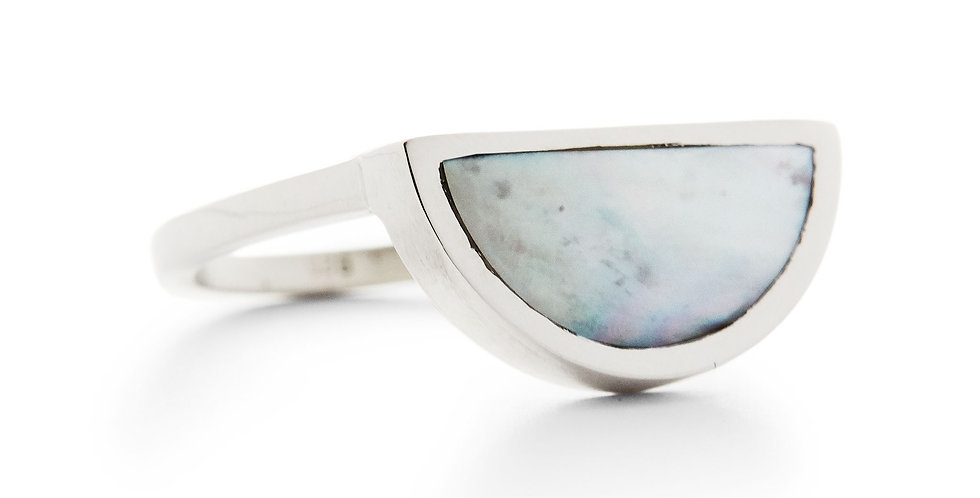 Silver Mother of Pearl Half Circle Ring