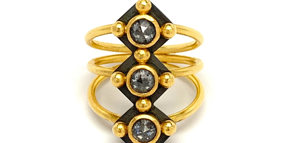 Grey Rose Cut Diamond 22k Gold and Blackened Silver Ring