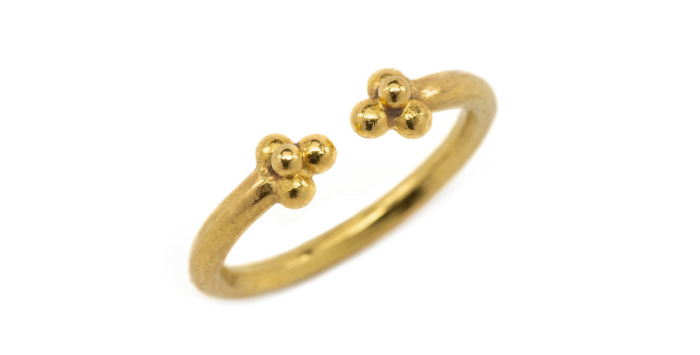 22k Gold Granule Open Stack Ring