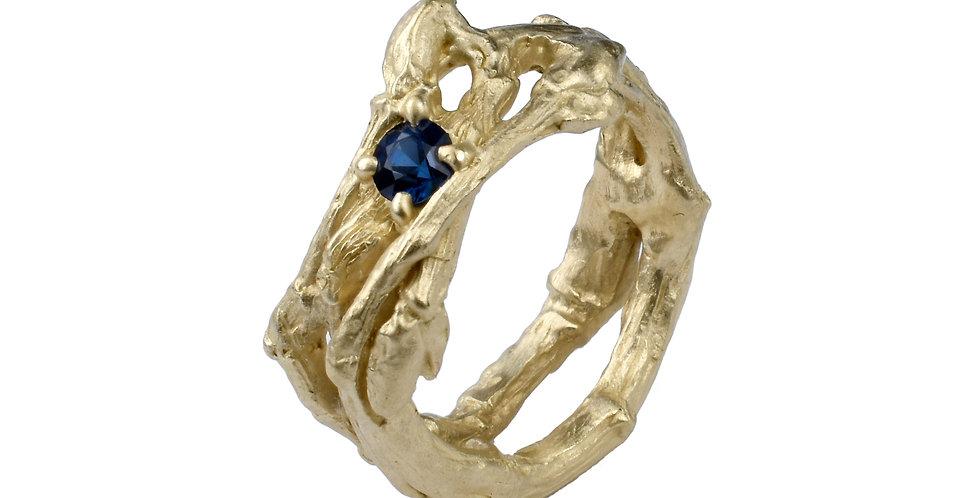 Blue Sapphire Twig Ring