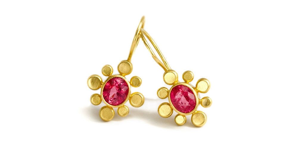 Betelgeuse Mozambique Pink Spinel 22k Gold Earring Drops