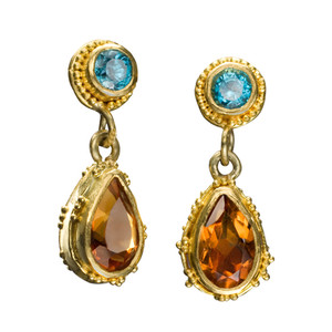 Lori Anne Citrine and Blue Topaz Drop Earrings