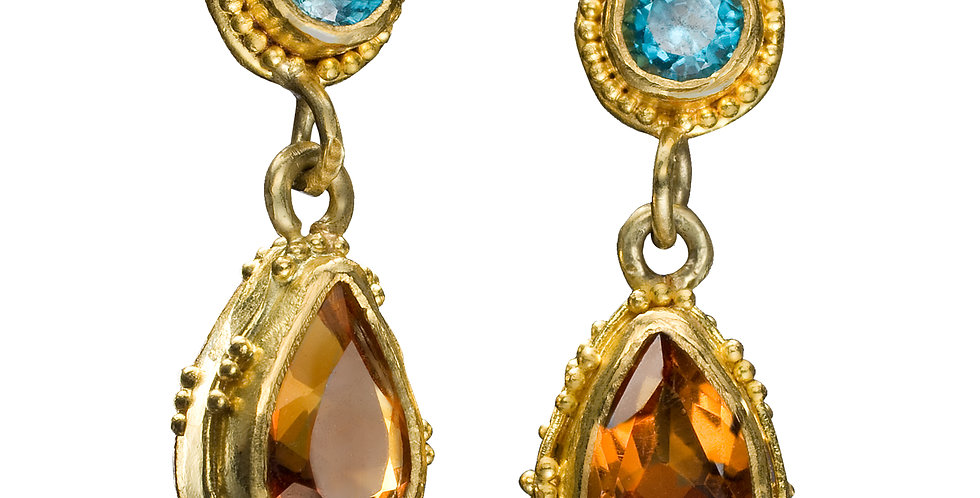 Citrine and Blue Topaz Cluster Drop Earrings