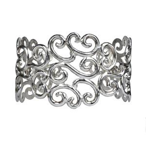Queta Fabregat Scroll filligree silver cuff bracelet