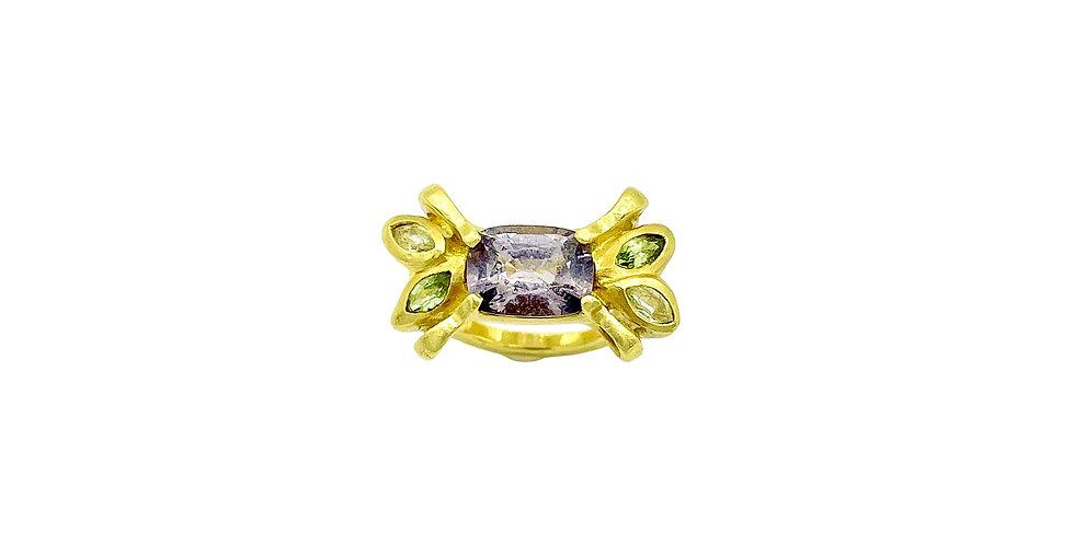 Grey Spinel Bow Ring by Dori Friedberg