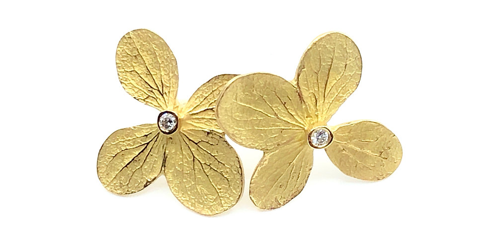 Diamond Flower Statement Stud Earrings