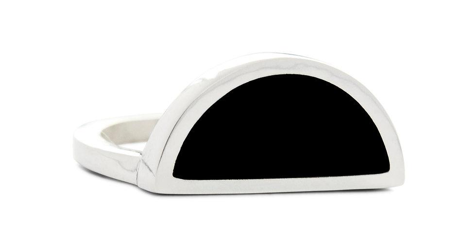 Silver Black Onyx Half Circle Ring