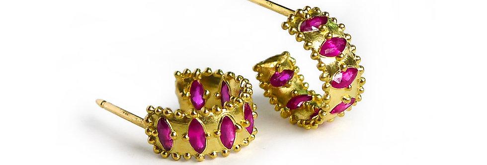 Marquise Ruby Hoop Earrings