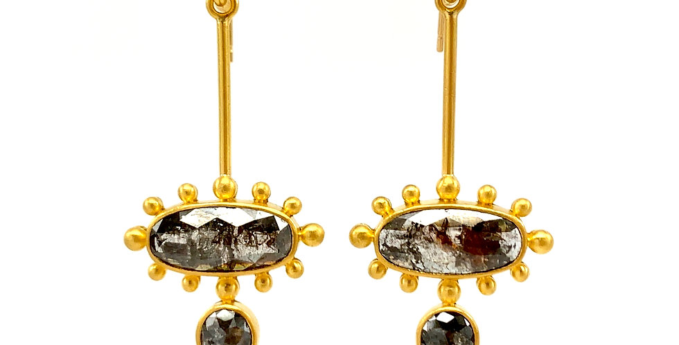 Linda Hoj Black Ice Black Diamond 22k Gold Earrings