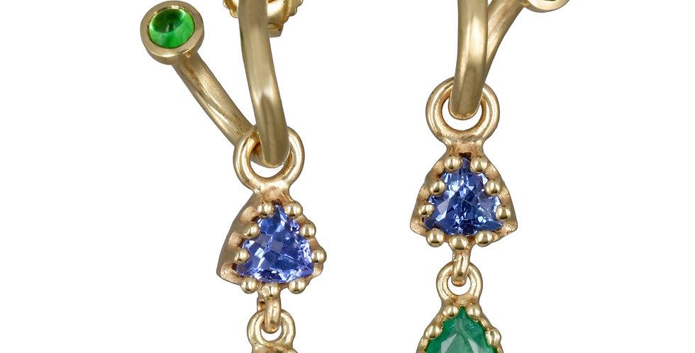 Emerald and Tanzanite Charm Earrings on Peek-A-Boo Hoops