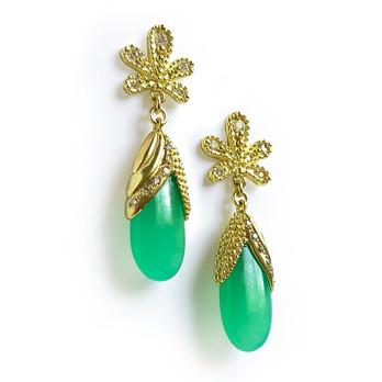 Chrysoprase leaf Earrings by Angelica Cammarota