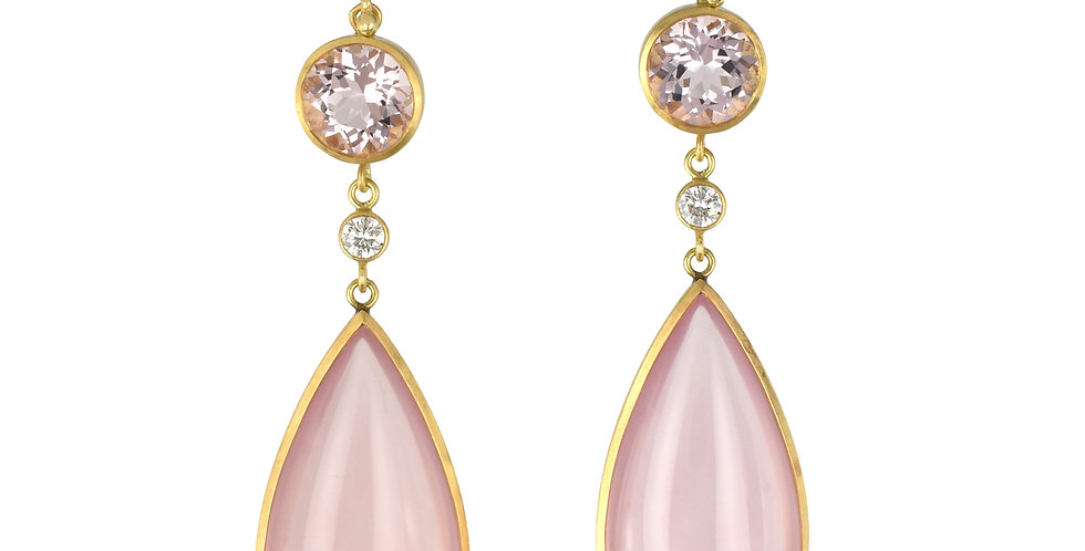 Morganite, Diamond, & Rose Quartz Drop Earrings