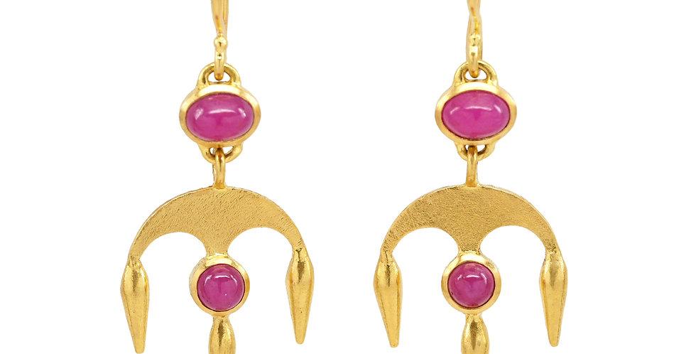 Ruby Pod Chandelier Earrings