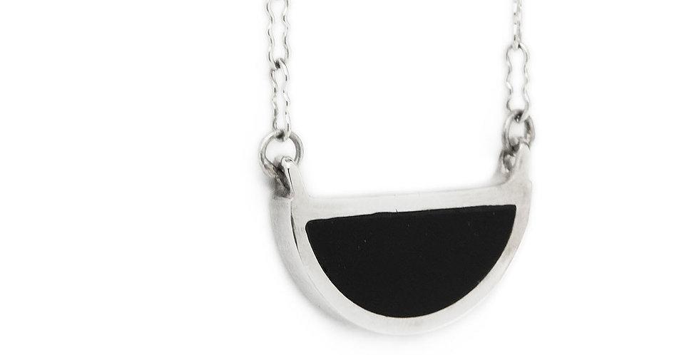 Silver Black Onyx Half Circle Pendant