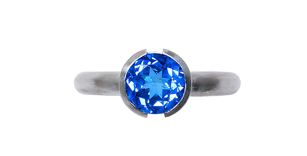Blue Topaz Open Bezel Ring