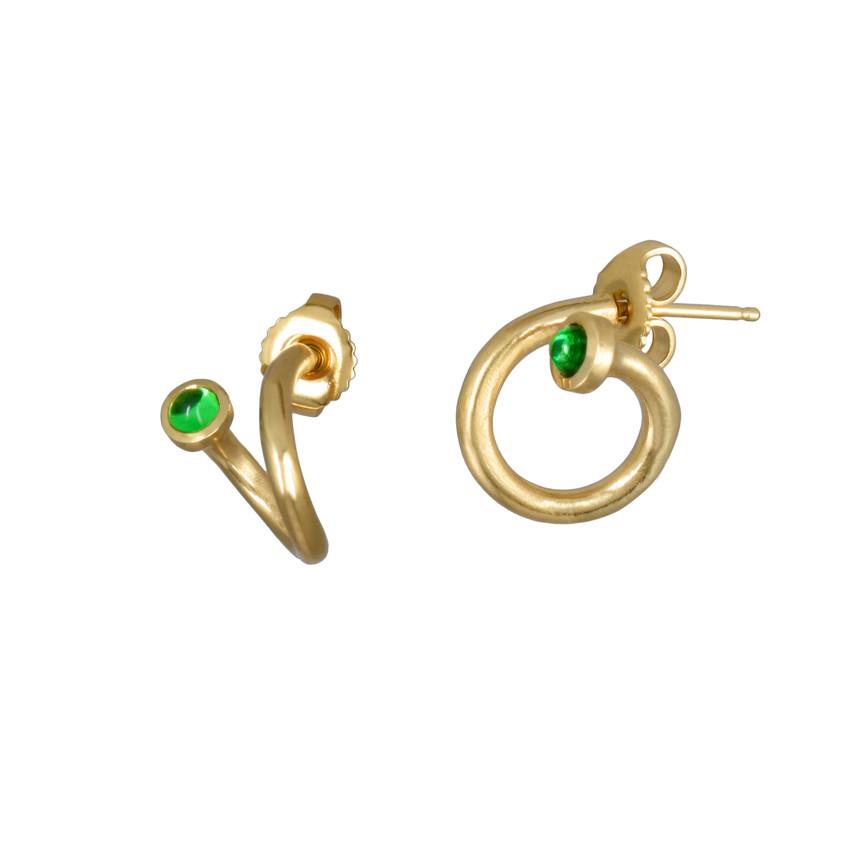 Mejia Jewelry - Tsavorite Garnet Peek A Boo Hoop earrings