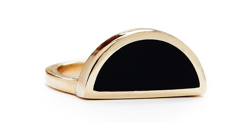 Black Onyx Half Circle Ring