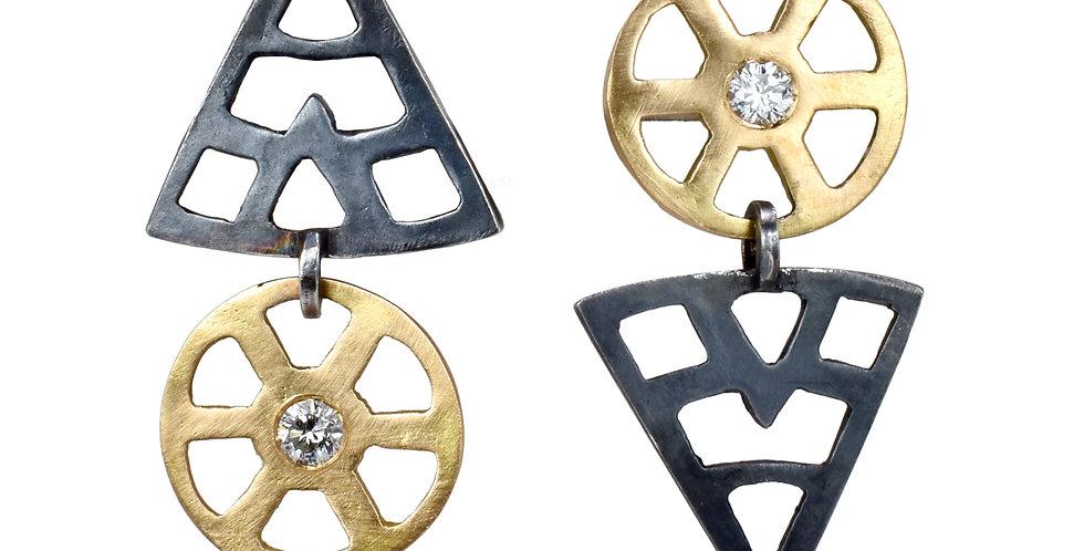 Italian Architectural Asymmetrical Earrings