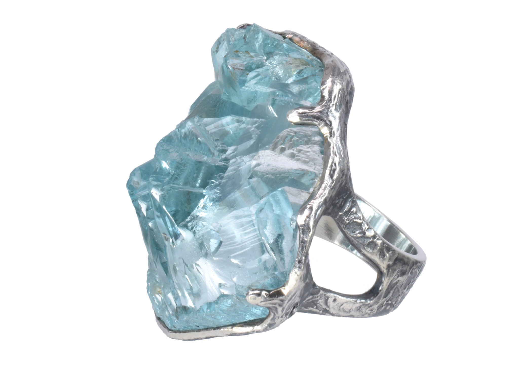 Rough Aquamarine Silver ring by Patricia Kolodny