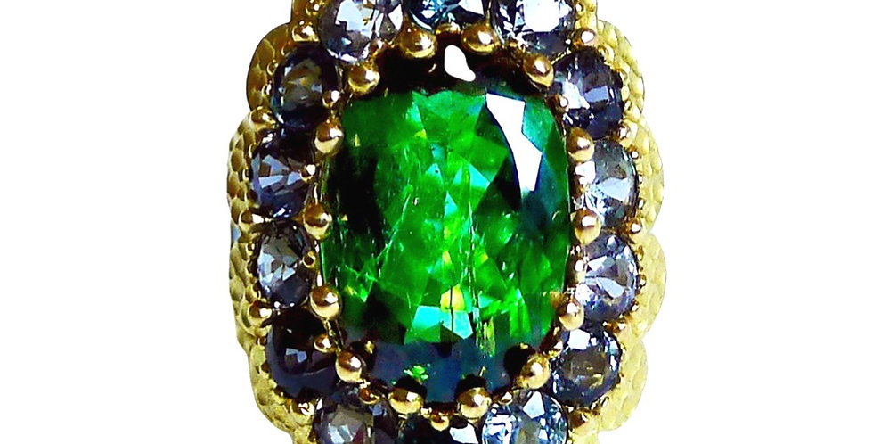 Green Tourmaline and Spinel Cocktail Ring