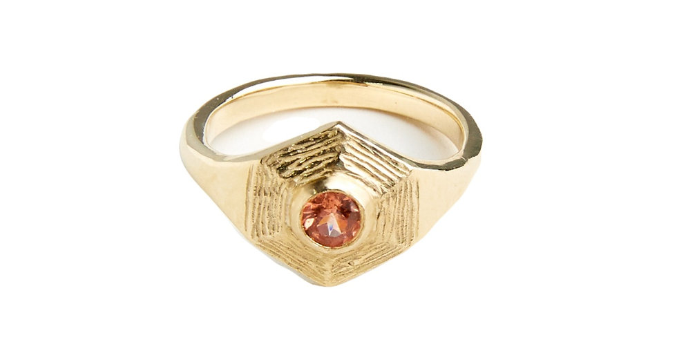 Gemstone Sphaera Hex Ring- Small