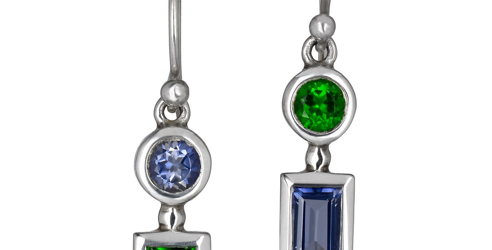 Mis-matched Iolite and Chrome Diopside Gemstone Earrings