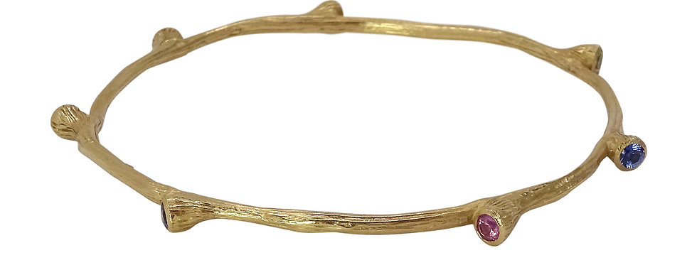 Gemstone Bud Bangle Bracelet