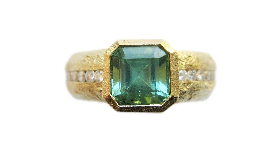 Green Tourmaline and Diamond Eternity Ring