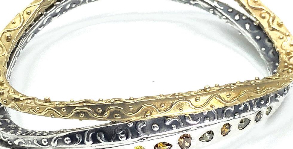 Landscape Silver or Brass Bangle Bracelet