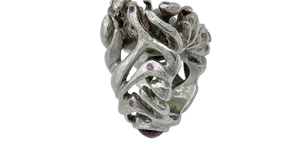 Peridot Anemone Ring by Dori Friedberg