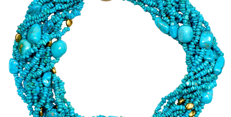 Turquoise and Gold Bead Torsade Necklace