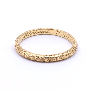 Demeter hand engraved gold Wheat ring by Rachel Beck