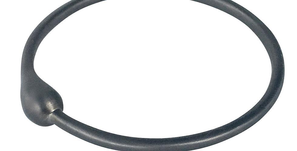 Black Rhodium Silver Love Drop Bangle Bracelet